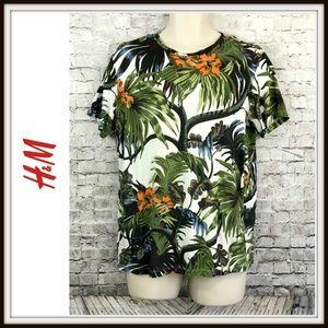 H&M Tropical Jungle Mens Floral Crewneck Tshirt